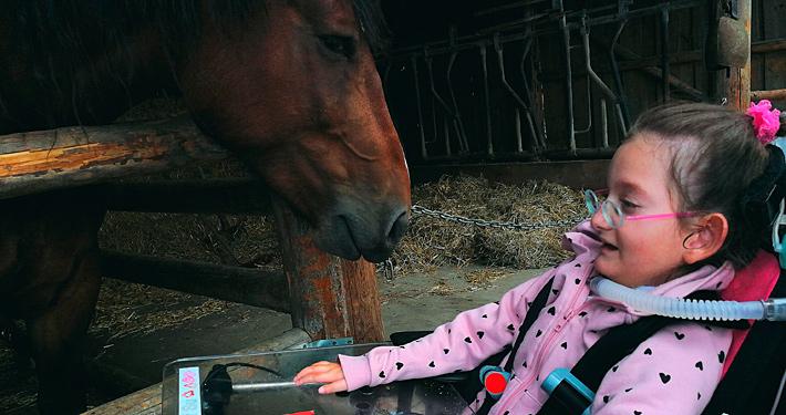 Mädchen im Rollstuhl an Pferdebox